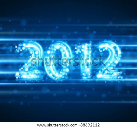 Happy new year 2012 message from sparkles light vector background. Eps 10.