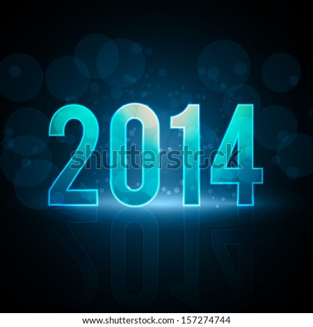 Happy New Year 2014 Message Neon Background | EPS10 Vector Illustration