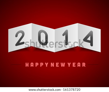 Happy New Year 2014 message on bend paper vector background. Eps 10.  - stock vector