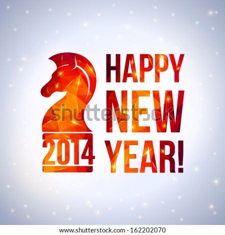 Happy new year message with 2014 numbers. Vector illustration with red horse's muzzle in profile view in origami style. Polygonal background with lights. Sparkles. Low-poly colorful style. - stock vector