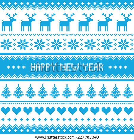 Happy New Year - Nordic winter blue pattern