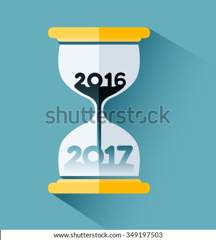 Happy New year 2017, Number inside the hourglass. Time passing concept