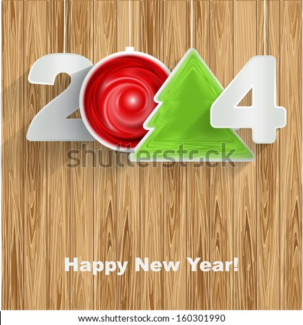 Happy New Year 2014 on wood background - stock vector