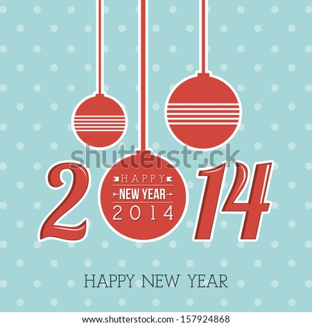 happy new year 2014 over dotted background  vector illustration