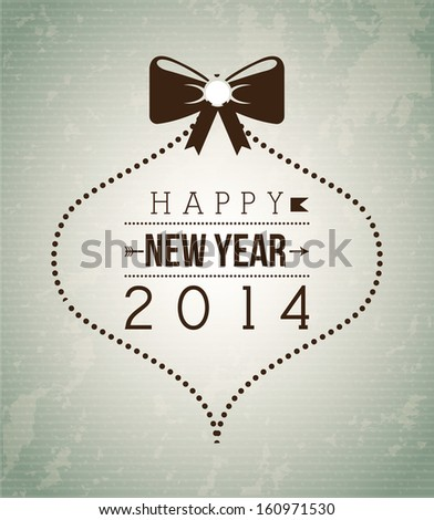 happy new year 2014 over gray background  vector illustration