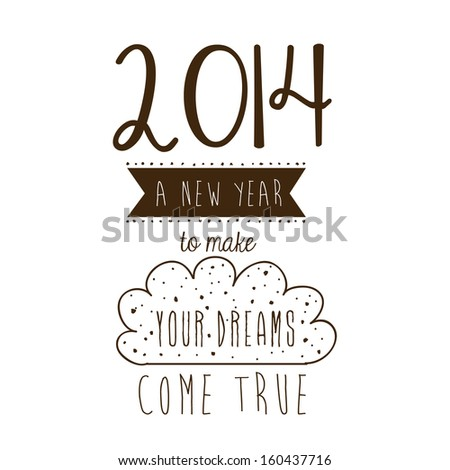 happy new year 2014 over white background vector illustration