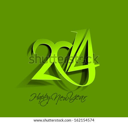 Happy New Year 2014 Paper Folding Text Design