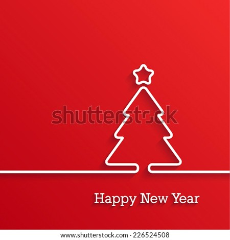 Happy New Year paper postcard. Vector illustration. - stock vector