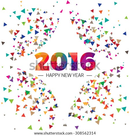 Happy new year 2016 paper text triangle scatter Design - stock vector