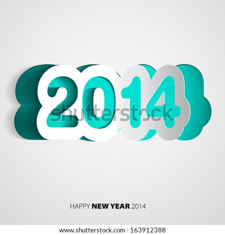 Happy New Year 2014 paper vector card - vector illustration