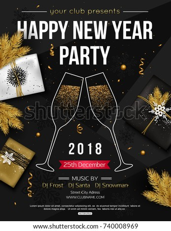 Happy New Year Party Flyer Template Stock Vector