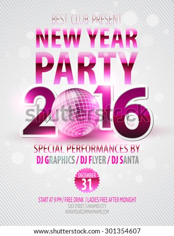 Happy New Year party poster. Vector template EPS 10