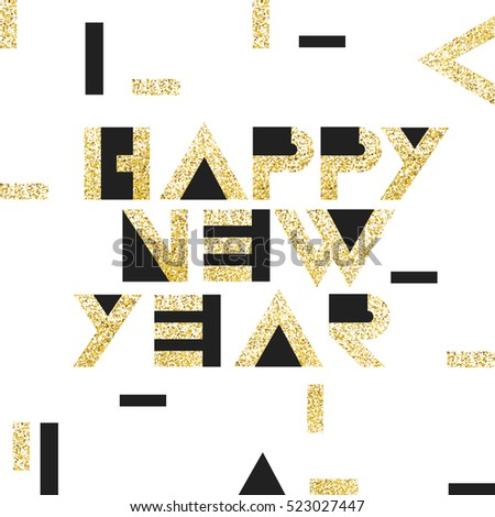 Happy New Year Postcard Golden. Gold Geometric Typography.  Vector template for holiday designs