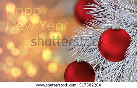 Happy New Year poster. Banner with red balls and branches of christmas tree on the gold blurred lights background. Christmas design, decor. Vector illustration.
