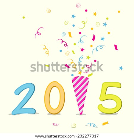 Happy New Year 2015 poster decorated with stylish text and colorful ribbons on beige background.