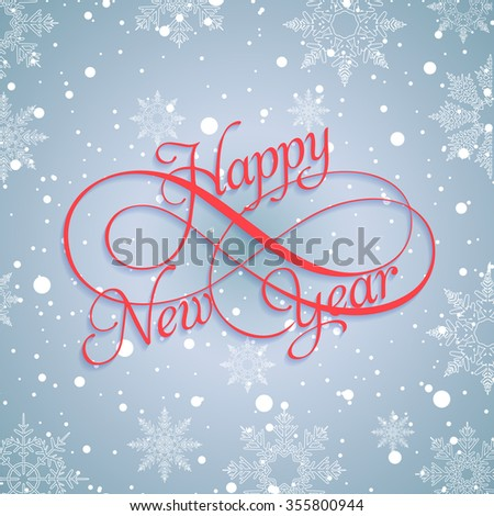 Happy New Year 2016 red hand-lettering text on a blue frosty with snow and snowflakes background. Vector Handmade calligraphy collection - stock vector