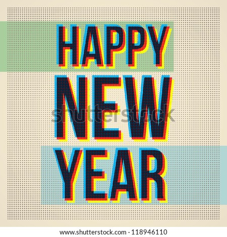 Happy new year.Retro Vintage - stock vector