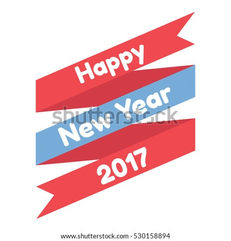 happy new year. ribbon design. isolated on white background. vector illustration.