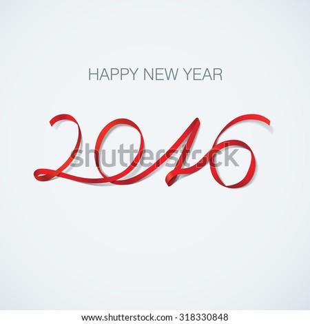 Happy New Year 2016. Ribbon greeting card vector illustration. - stock vector