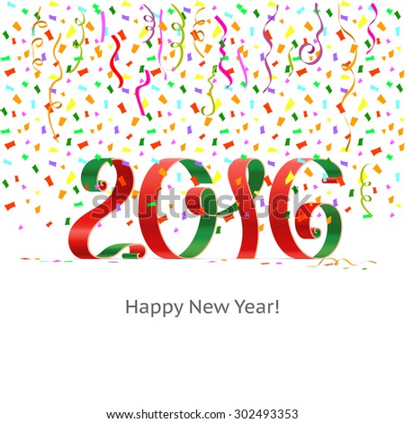 Happy New Year 2016 ribbon on white background with colored confetti. Vector.