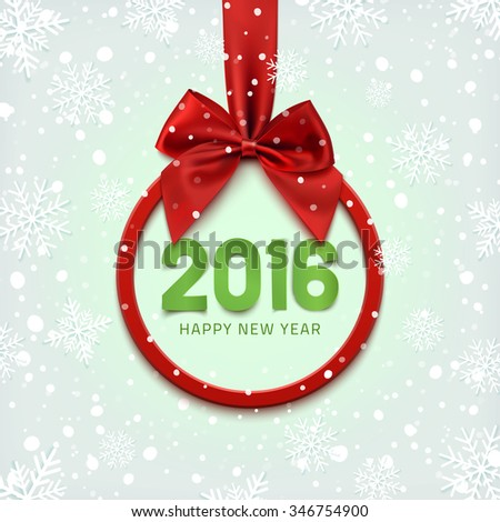 Happy New Year 2016 round banner with red ribbon and bow, on winter background with snow and snowflakes. Christmas tree decoration. Greeting card template. Vector illustration. - stock vector