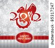 happy new year's card with cute dragon - stock vector