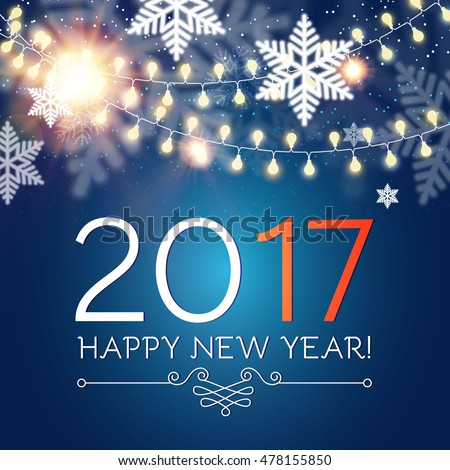 Happy new 2017 year seasons greetings stock vector 478155850 seasons greetings snowflakes ans light garlands colorful winter background m4hsunfo
