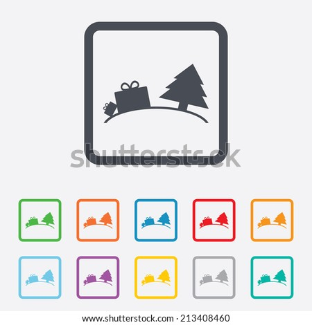 Happy new year sign icon. Gifts anf tree. Round squares buttons with frame. Vector