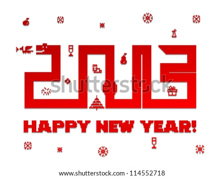 Happy New Year. Snake of the games on the old mobile phones - stock vector
