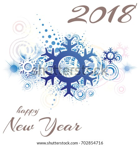 Happy New Year 2018. Snowflake. Abstract Grunge Background. Vector  Illustration