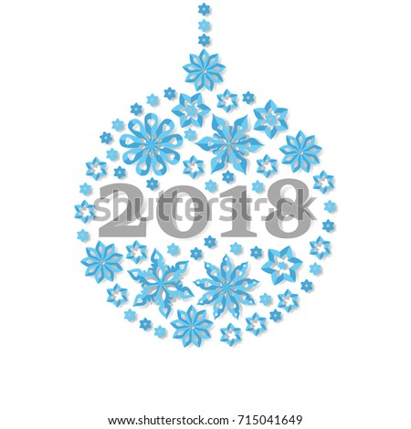 Happy New Year 2018 Snowflake Christmas Ball Holiday Congratulation Card Art Vector Illustration