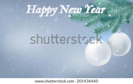 Happy New Year snowy background. Holiday background decorated with fir branch, Christmas tree decorations and snowflakes. Vector - stock vector