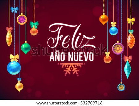 Happy new year spanish card decorated stock vector 532709716 happy new year spanish card decorated frame on red background space for your text m4hsunfo