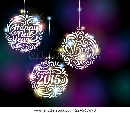 Happy New Year 2015 sparkling colorful ornament design. Vector illustration. Black disco background with flare lights. Invitation or greeting card design. - stock vector