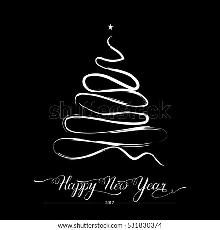 Happy new year stylized decorative fir tree on black background. Winter holiday greeting card. Vector Illustration