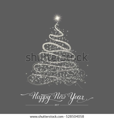 Happy new year stylized decorative handdrawn doodle black fir tree on grey background. Winter holiday greeting card. Vector Illustration