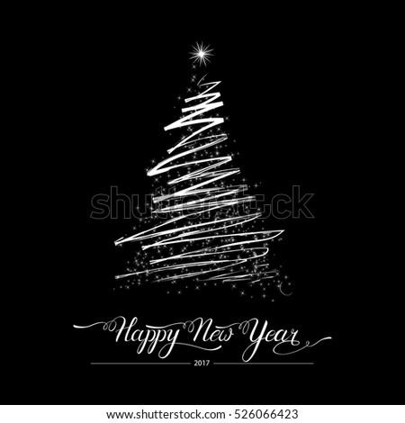 Happy new year stylized decorative handdrawn doodle fir tree on black background. Winter holiday greeting card.Vector Illustration
