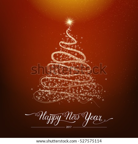 Happy new year stylized shining decorative fir tree on brown background. Winter holiday greeting card. Vector Illustration