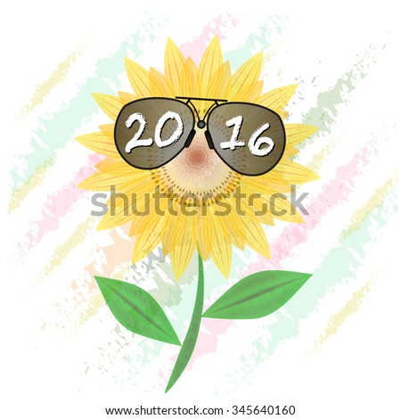 Happy new year 2016 Sunflower  with sunglasses  illustration summer bright natural flora beautiful white - stock vector