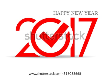 Happy new year 2017 symbol with check mark vector illustration isolated on white background. Happy new year 2017 greeting card. Happy new year 2017 icon idea.