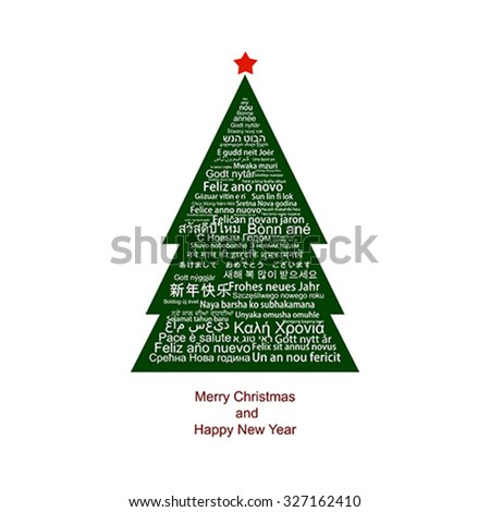 Happy New Year Tag Cloud in many languages shaped as a Christmas tree - stock vector