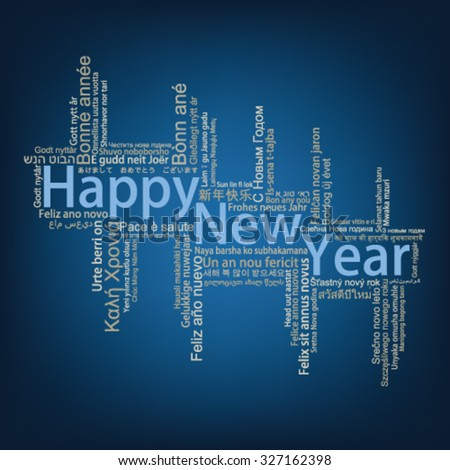 Happy New Year Tag Cloud in many languages , vector - stock vector