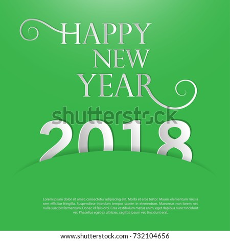 happy new year 2018template for cards and greetingschristmas celebration green and