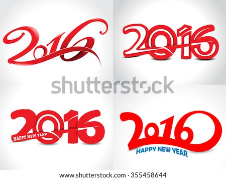 happy new year 2016 text background set vector illustration