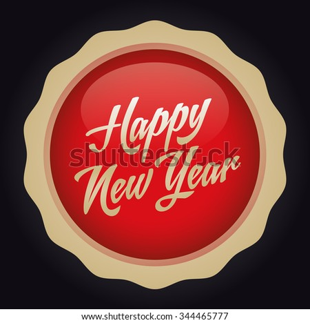 Happy new year text badge. Vector illustration. Red-Gold Badge - Black background.