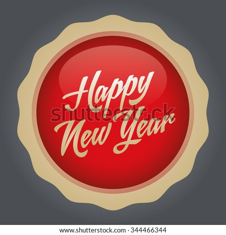 Happy new year text badge. Vector illustration. Red-Gold Badge - Gray background.