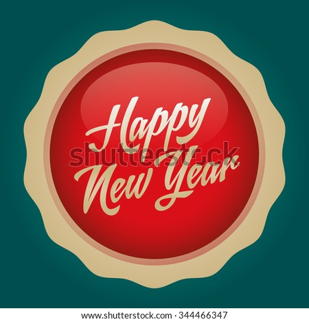 Happy new year text badge. Vector illustration. Red-Gold Badge - Green background.