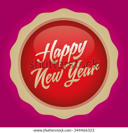 Happy new year text badge. Vector illustration. Red-Gold Badge - Magenta background.