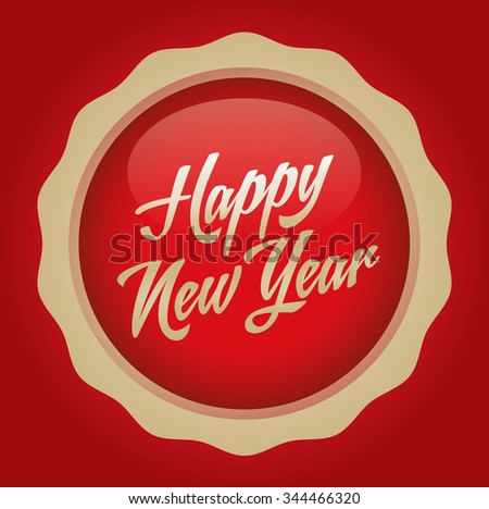 Happy new year text badge. Vector illustration. Red-Gold Badge - Red background.