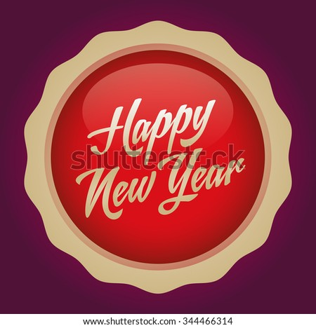 Happy new year text badge. Vector illustration. Red-Gold Badge - Ruby background.